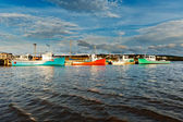 Fishing boat during sunset — Stock Photo