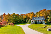 House and autumn forest — Stock Photo
