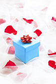 Blue Gift box with silver bow on wedding veil — Stock Photo