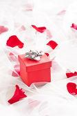 Caja de regalo roja con el arco de plata en velo de novia — Foto de Stock
