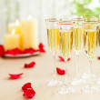Wedding reception setting with champagne — Stock Photo