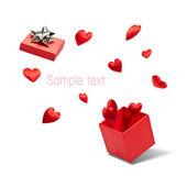 открыт подарочная коробка с летающими сердца — Стоковое фото