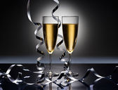 Champagne glasses in New Years party look — Stock Photo