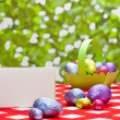 Easter eggs and with place card — Stock Photo