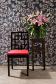 Black red Chair and side table — Stock Photo