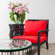 Black red Chair and side table — Stock Photo #22006381