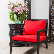 Black red Chair and side table — Stock Photo #22006443