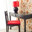 Photo: Luxury work desk with floral wallpaper