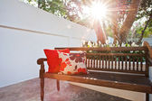 Outdoor patio seating are with nice bench — Stock Photo
