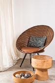 Brown rattan Chair in interior setting — Foto Stock