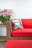 Beautiful basketwork furniture — Stock Photo