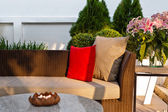 Outdoor patio seating area — Stock Photo