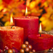 Autumn candles — Stock Photo