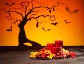 Candles in Halloween setting — Stock Photo