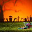 Zombie hands and graveyard — Stock Photo #26708451