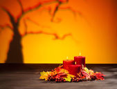 Candles in scary Halloween landscape — Stockfoto