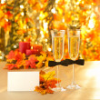 Champagne glasses with conceptual same sex decoration for gay me — Stock Photo