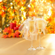 Champagne glasses with conceptual same sex decoration — Stock Photo #26968621