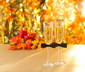 Champagne glasses with conceptual same sex decoration for gay — Stock Photo