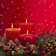 Red advent wreath with candles — Stock Photo