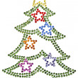 Christmas tree made of rhinestones — Stock Photo