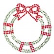Red green wreath made of rhinestones — Stock Photo #29212869