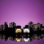 Metropolis City gay piggy bank civil union — Stock Photo