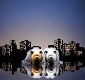 Metropolia miasta lesbijki piggy bank związku cywilnego — Zdjęcie stockowe
