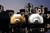 Metropolis City gay piggy bank civil union — Stock Photo