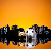 Metropolis City pig wedding — Stock Photo