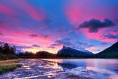 Sunset above Vermilion Lakes, Banff National Park — Stock Photo
