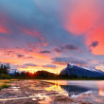Sunset above Vermilion Lakes, Banff National Park — Stock Photo #37470797