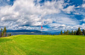 Golf Tee at Kelowna Lakeshore Road Okanagan Valley BC — Stock Photo
