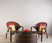 Brown rattan chairs and table — 图库照片