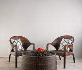 Two basket weaved seater — Stock Photo
