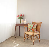 Beige bast chair — Stock Photo