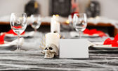 Halloween dinner table setting — Stock Photo
