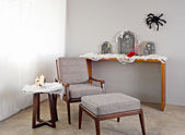 Grey upholstered chair — Foto de Stock