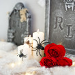 Candles in Halloween decoration and red roses — Stock Photo