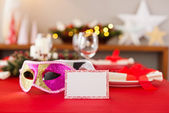 New Years dinner table setting — Stock Photo