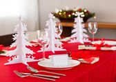 Christmas dinner table setting  — Stock Photo