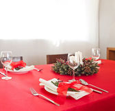 Christmas dinner table setup  — Stockfoto