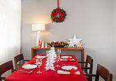 Christmas dinner table setup — Stock Photo