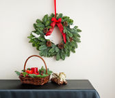 Advent wreath with red ribbon — Stock Photo
