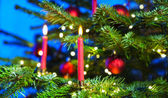 Red candles in christmas tree — Stockfoto