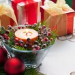 Christmas Presents with red bauble decoration — Stok fotoğraf