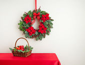 Advent wreath over side board — Stock Photo
