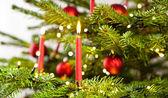 Vela roja en árbol de navidad — Foto de Stock