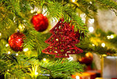 Ornament in a real Christmas tree — Stock fotografie