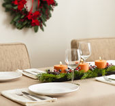 Christmas Dinner table setting — Stock Photo